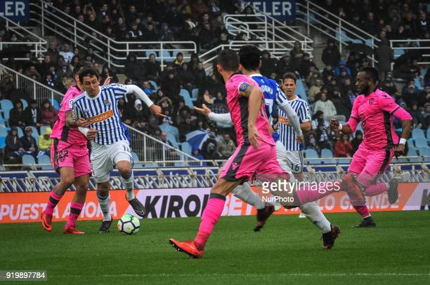 Oyarzabal of Real Sociedad during the Spanish league football match between Real Sociedad and Levante at the Anoeta Stadium on 18 February 2018 in...