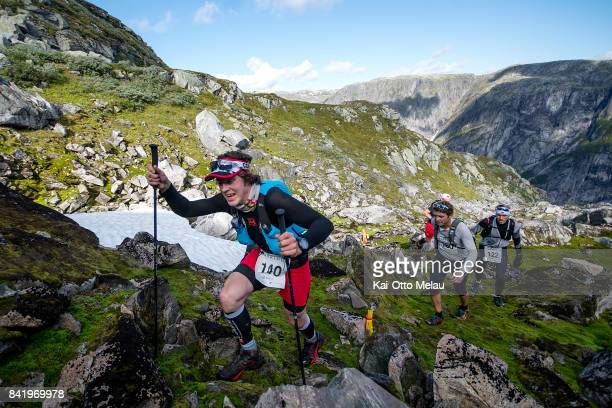 Oyestein Roen settig the pace at Hardangervidda Marathon on September 2 2017 in Eidfjord Norway Hardangervidda Marathon goes through parts of the...