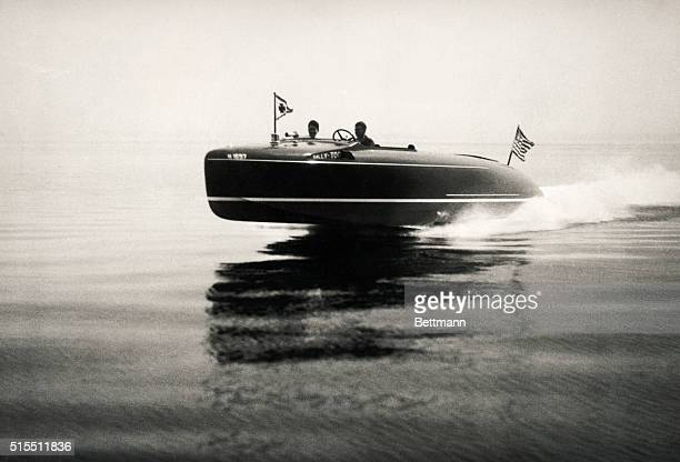 Oyster Bay NY The speed boat SallyToo owned by Austin J Feuchtwanger of Stamford CT which recently exceeded 61 miles per hour in Oyster Bay on her...