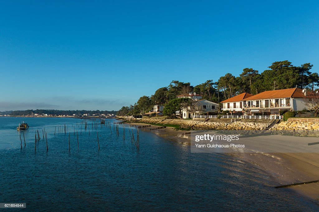 Oyster farming,Les Jacquets, Lege Cap Ferret, Bay of Arcachon, Gironde, France : Stock Photo