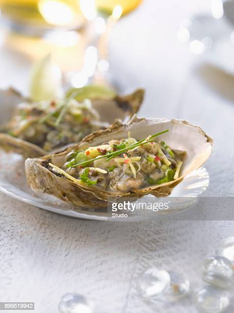 Oyster Tartare with lime,scallion and ginger sauce