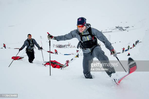 Oyvind Lillehagen and Halvor Wang from Team AsnesRAB fights the deep snow at Expedition Amundsen on March 7 2019 in Eidfjord Norway Expedition...
