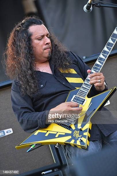 Oz Fox of Stryper performs at the 2012 BamaJam Music and Arts Festival Day 2 on BamaJam Farms in Enterprise Alabama on June 15 2012