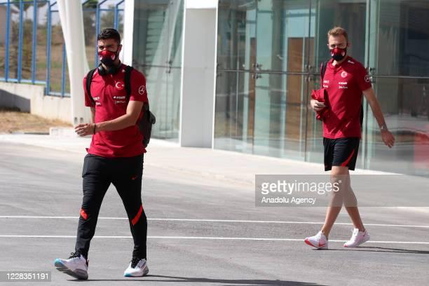 Ozan Kabak and Mert Gunok of Turkey are seen as Turkey National Football Team departs to Belgrade in Sivas, Turkey on September 05, 2020 ahead of...
