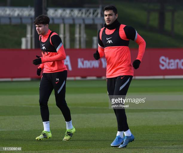 Ozan Kabak and Neco Williams of Liverpool during a training session at AXA Training Centre on April 13, 2021 in Kirkby, England.