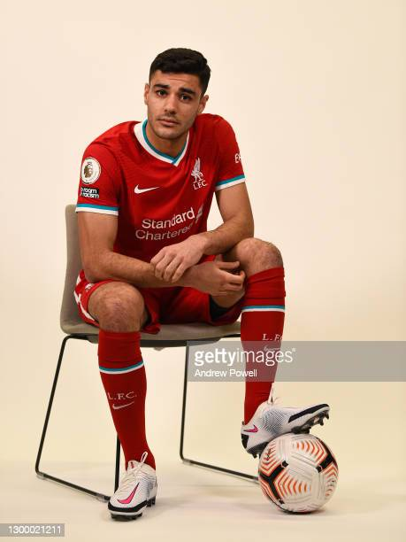 Ozan Kabak new signing of Liverpool at AXA Training Centre on February 02, 2021 in Kirkby, England.