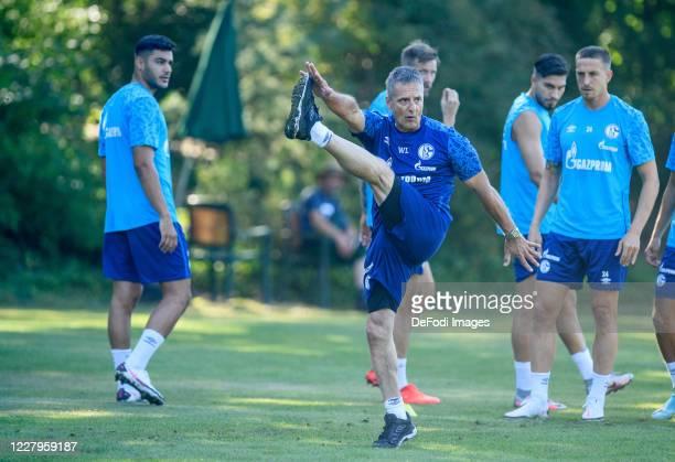 Ozan Kabak of FC Schalke 04, Athletic coach Werner Leuthard of FC Schalke 04, Suat Serdar of FC Schalke 04 and Bastian Oczipka of FC Schalke 04 looks...
