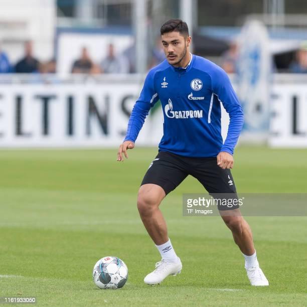 Ozan Kabak of FC Schalke 04 controls the ball during the Schalke 04 Training Session on August 15 2019 in Gelsenkirchen Germany
