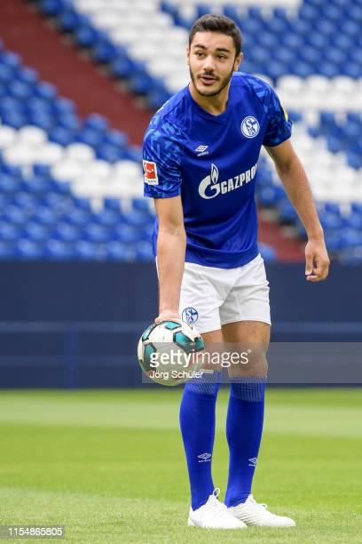 Ozan Kabak of FC Schalke 04 during the team presentation at VeltinsArena on July 10 2019 in Gelsenkirchen Germany