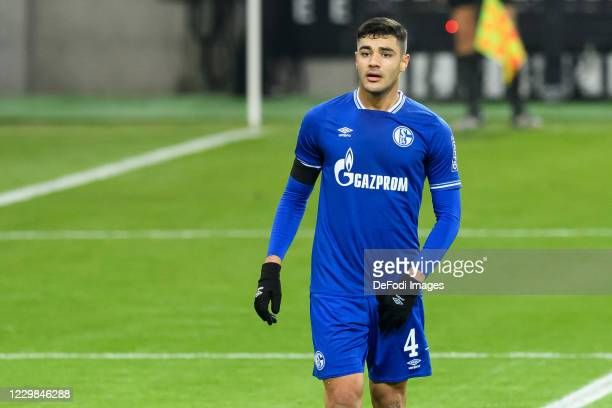 Ozan Kabak of FC Schalke 04 looks on during the Bundesliga match between Borussia Moenchengladbach and FC Schalke 04 at Borussia-Park on November 28,...