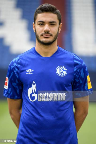 Ozan Kabak of FC Schalke 04 poses during the team presentation at VeltinsArena on July 10 2019 in Gelsenkirchen Germany