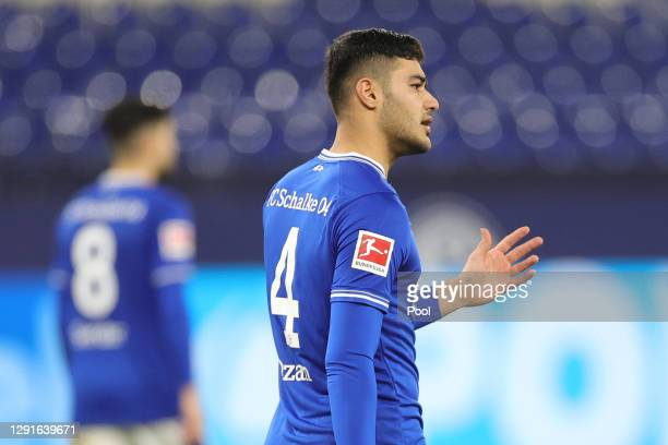 Ozan Kabak of FC Schalke 04 reacts after they concede the first goal during the Bundesliga match between FC Schalke 04 and Sport-Club Freiburg at...