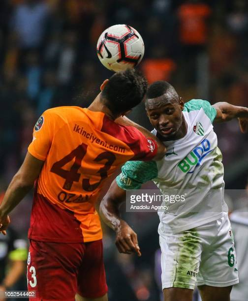 Ozan Kabak of Galatasaray in action against Diafra Sakho during Turkish Super Lig soccer match between Galatasaray and Bursaspor at Turk Telekom...