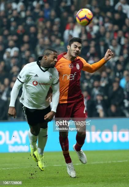 Ozan Kabak of Galatasaray in action against Jeramain Lens of Besiktas during the Turkish Super Lig soccer match between Besiktas and Galatasaray at...