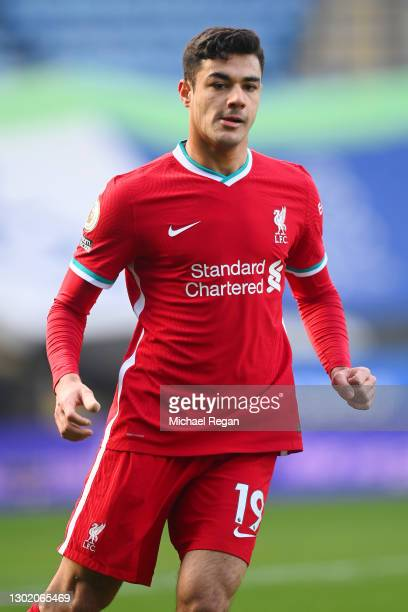 Ozan Kabak of Liverpool during the Premier League match between Leicester City and Liverpool at The King Power Stadium on February 13, 2021 in...