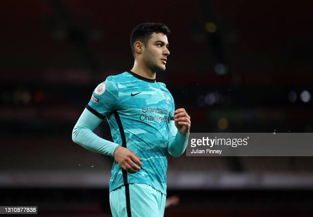 Ozan Kabak of Liverpool looks on during the Premier League match between Arsenal and Liverpool at Emirates Stadium on April 03, 2021 in London,...