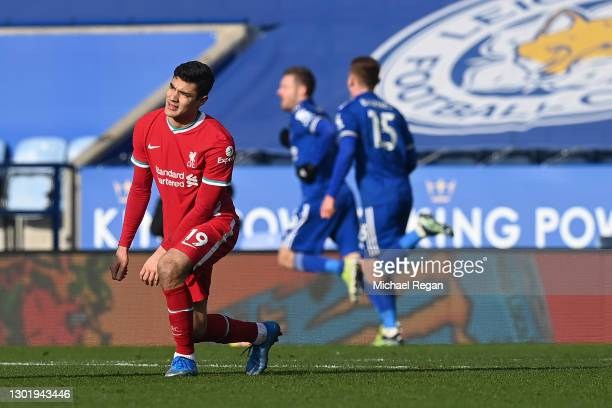 Ozan Kabak of Liverpool reacts after his team concede a second goal during the Premier League match between Leicester City and Liverpool at The King...