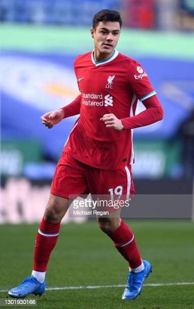 Ozan Kabak of Liverpool runs on during the Premier League match between Leicester City and Liverpool at The King Power Stadium on February 13, 2021...