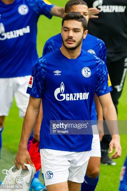 Ozan Kabak of Schalke looks on during the team presentation at VeltinsArena on July 10 2019 in Gelsenkirchen Germany