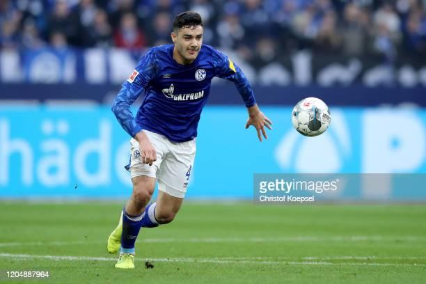Ozan Kabak of Schalke runs with the ball during the Bundesliga match between FC Schalke 04 and SC Paderborn 07 at Veltins-Arena on February 08, 2020...