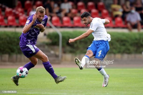 Ozan Kabak of Schalke scores the first goal during the pre-season friendly match between FC Schalke 04 and VfL Osnabrueck at Quitt-Stadion on August...