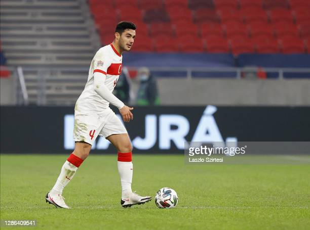 Ozan Kabak of Turkey controls the ball during the UEFA Nations League group stage match between Hungary and Turkey at Puskas Arena on November 18,...
