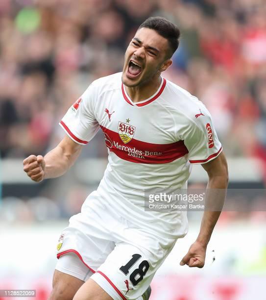 Ozan Kabak of VfB Stuttgart celebrates after scoring his team`s second goal during the Bundesliga match between VfB Stuttgart and Hannover 96 at...