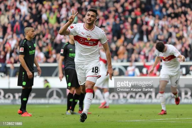 Ozan Kabak of VfB Stuttgart celebrates after scoring his team`s third goal during the Bundesliga match between VfB Stuttgart and Hannover 96 at...