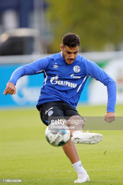 Ozan Kabak scores a goal during the training session of FC Schalke at Training Ground on August 15 2019 in Gelsenkirchen Germany