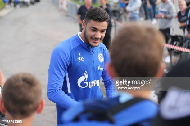 Ozan Kabak walks to the fans during the training session of FC Schalke at Training Ground on August 15 2019 in Gelsenkirchen Germany