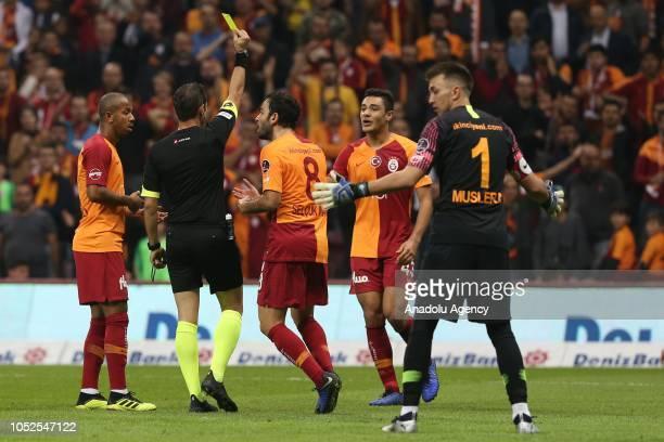 Ozan Muhammed Kabak of Galatasaray receives yellow card during Turkish Super Lig soccer match between Galatasaray and Bursaspor at Turk Telekom...