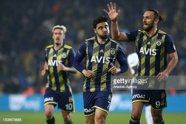 Ozan Tufan of Fenerbahce celebrates after scoring a goal during the Turkish Super Lig week 25 goal between Fenerbahce and Yukatel Denizlispor at...
