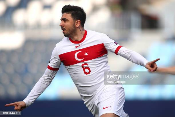 Ozan Tufan of Turkey celebrates after scoring their team's first goal during the FIFA World Cup 2022 Qatar qualifying match between Norway and Turkey...