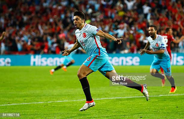 Ozan Tufan of Turkey celebrates scoring his team's second goal during the UEFA EURO 2016 Group D match between Czech Republic and Turkey at Stade...