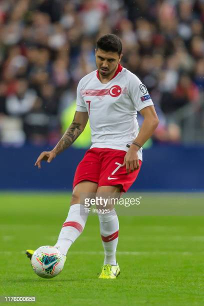 Ozan Tufan of Turkey controls the ball during the UEFA Euro 2020 qualifier between France and Turkey on October 14 2019 in SaintDenis France