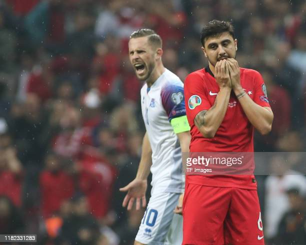 Ozan Tufan of Turkey looks dejected during the UEFA Euro 2020 qualifier between Turkey and Iceland at Ali Sami Yen Arena on November 14 2019 in...