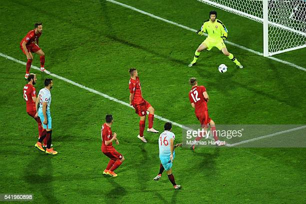 Ozan Tufan of Turkey scores his team's second goal during the UEFA EURO 2016 Group D match between Czech Republic and Turkey at Stade...