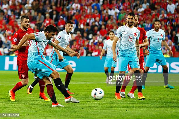Ozan Tufan of Turkey scores his team's second goal during the UEFA EURO 2016 Group D match between Czech Republic and Turkey at Stade BollaertDelelis...