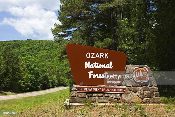 ozark national forest sign - ozark mountains stock pictures, royalty-free photos & images