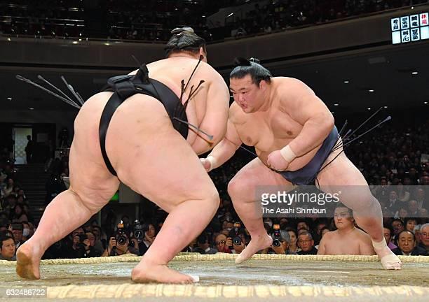 Ozeki Kisenosato and Mongolian ozeki Terunofuji compete during day fourteen of the Grand Sumo New Year Tournament at Ryogoku Kokugikan on January 21...