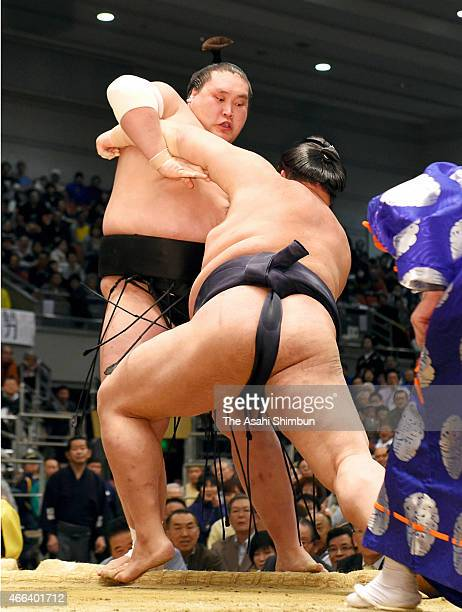 Ozeki Kisenosato pushes Mongolian wrestler Terunofuji out of the ring to win during day eight of the Grand Sumo Spring Tournament at Bodymaker...