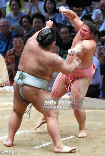 Ozeki Takayasu and Ura compete during day ten of the Grand Sumo Nagoya Torunament at Aichi Prefecture Gymnasium on July 18 2017 in Nagoya Aichi Japan