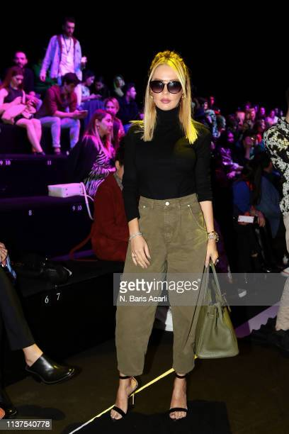 Ozge Peker attends the Exquise show during MercedesBenz Fashion Week Istanbul March 2019 at Zorlu Center on March 22 2019 in Istanbul Turkey