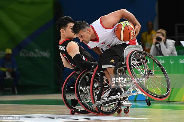 Ozgur Gurbulak of Turkey in action in the Men's Wheelchair Basketball group A preliminary between Turkey and Japan during the Rio 2016 Paralympic...