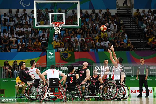 Ozgur Gurbulak of Turkey takes a shot in the Men's Wheelchair Basketball group A preliminary between Turkey and Japan during the Rio 2016 Paralympic...