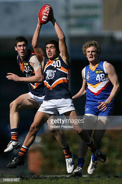 Ozgur Uysal of the Cannons takes a mark during the round 17 TAC Cup match between the Eastern Ranges and the Calder Cannons at Box Hill City Oval on...