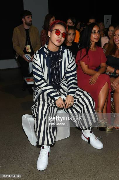 Ozi attends the Just In XX Front Row during New York Fashion Week The Shows at Gallery II at Spring Studios on September 9 2018 in New York City