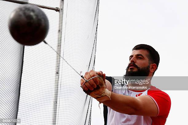 Ozkan Baltaci of Turkey in action during the final of the mens hammer on day five of The 23rd European Athletics Championships at Olympic Stadium on...