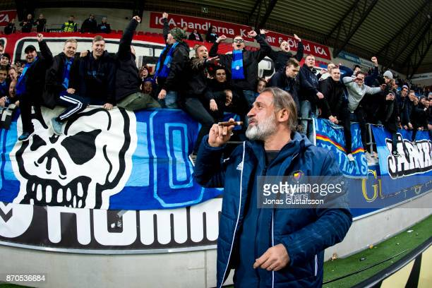 Ozkan Melkemichel head coach of Djurgardens IF celebrates after the victory with fans during the allsvenskan match between Kalmar FF and Djurgarden...