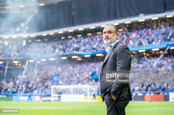 Ozkan Melkemichel head coach of Djurgardens IF during the Allsvenskan match between AIK and Djurgardens IF at Friends arena on August 27 2017 in...